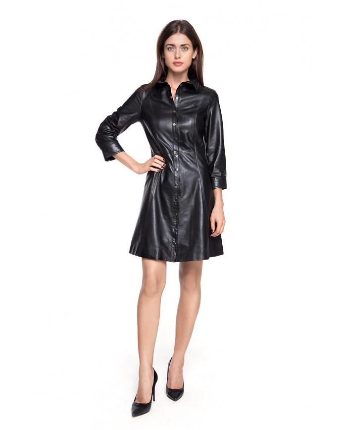 Кожаное платье Elb-555 NATUREL 093 - интернет-магазин Alberta
