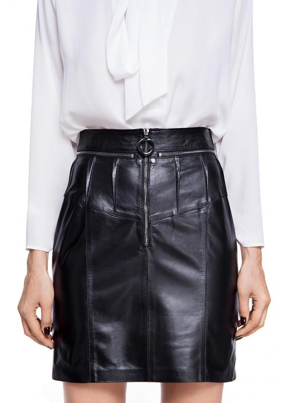 Женская кожаная юбка E-002-B NATUREL 093
