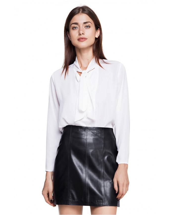 Кожаная юбка E-007 NATUREL 093 - интернет-магазин Alberta