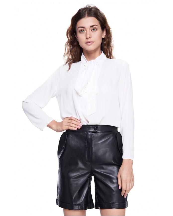 Женский кожаные шорты SHORT-02 NATUREL 093 - интернет-магазин Alberta