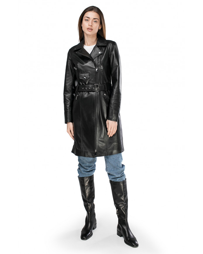 Women's leather trenchcoat VES-100 ZIK 089