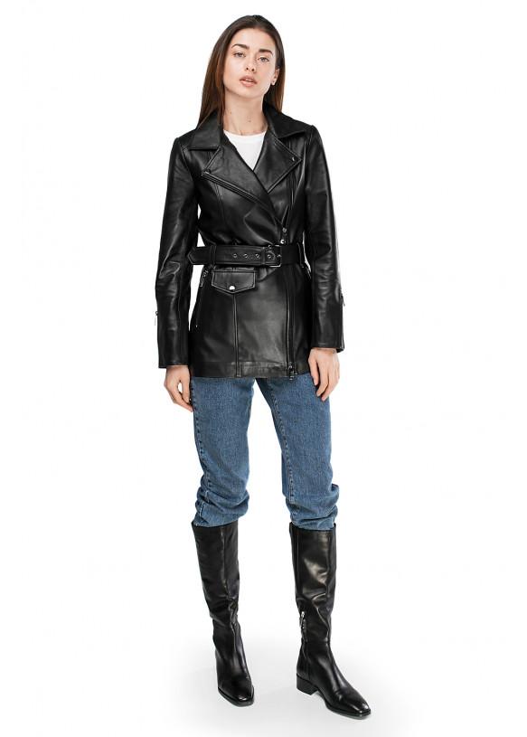 Жіноча шкіряна куртка  VES-101 ZIG 089