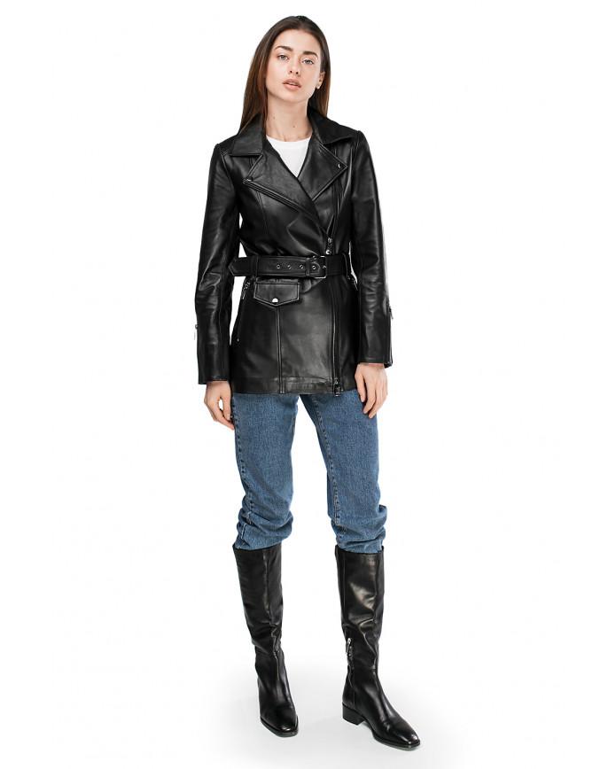 Женская кожаная куртка VES-101 ZIG 089 - интернет-магазин Alberta