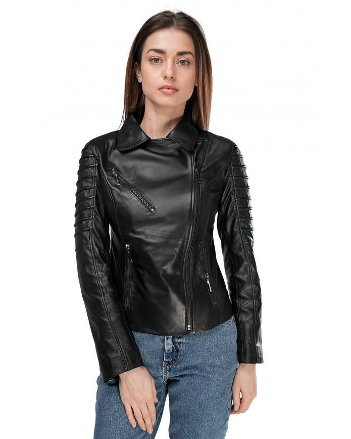 Женская кожаная куртка  JULLY ZIK 086 - интернет-магазин Alberta
