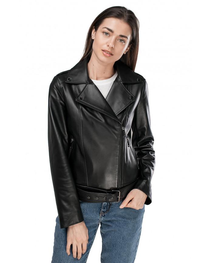 Женская кожаная куртка VES-110 ZIK 089 - интернет-магазин Alberta