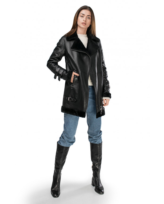 Women's sheepskin coat    N-Pilot-Maxi OHAGO 086