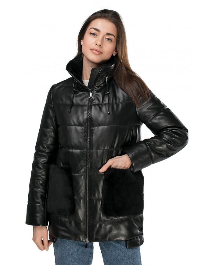 Женский кожаный пуховик NAFNAF-2 ZIK 098