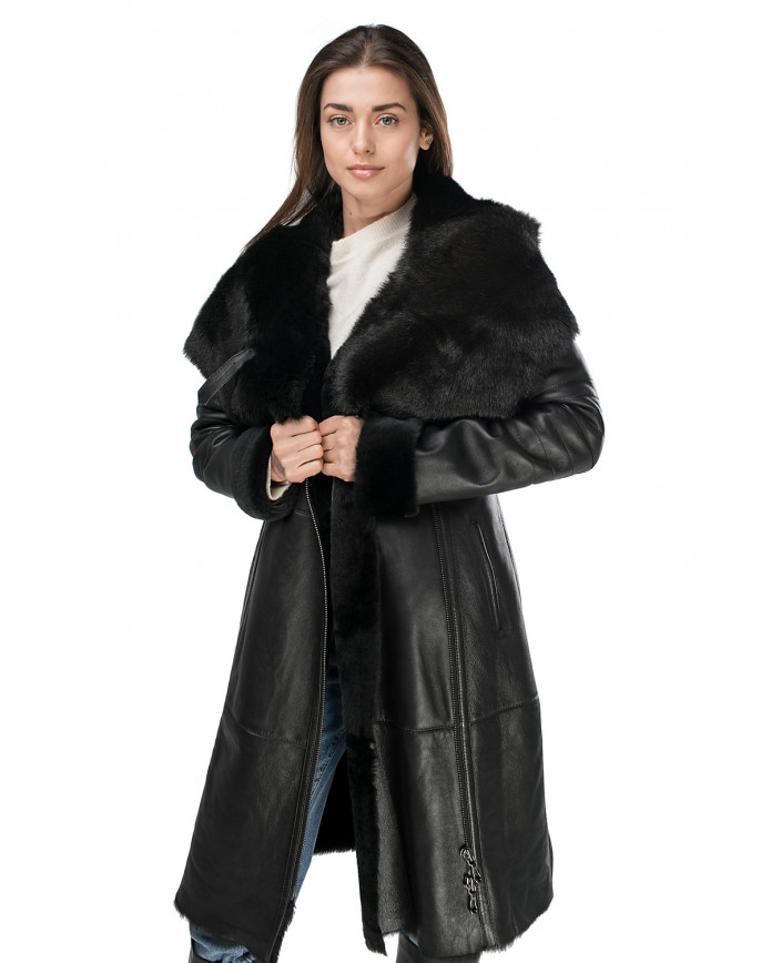 Women's sheepskin coat 02-Long SILKY 086
