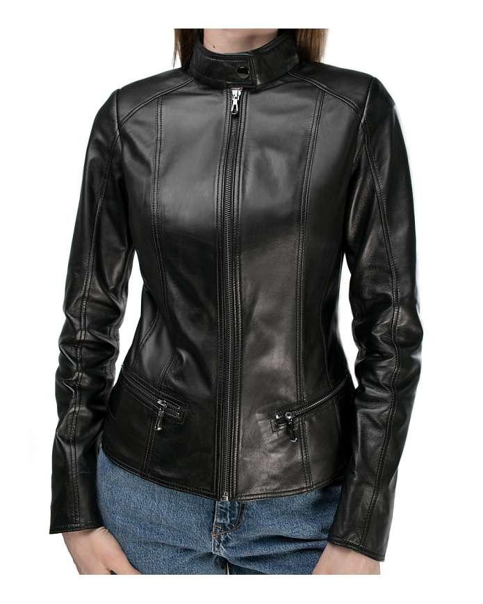 Женская куртка из натуральной кожы B1-001 ZIK 107 - интернет-магазин Alberta
