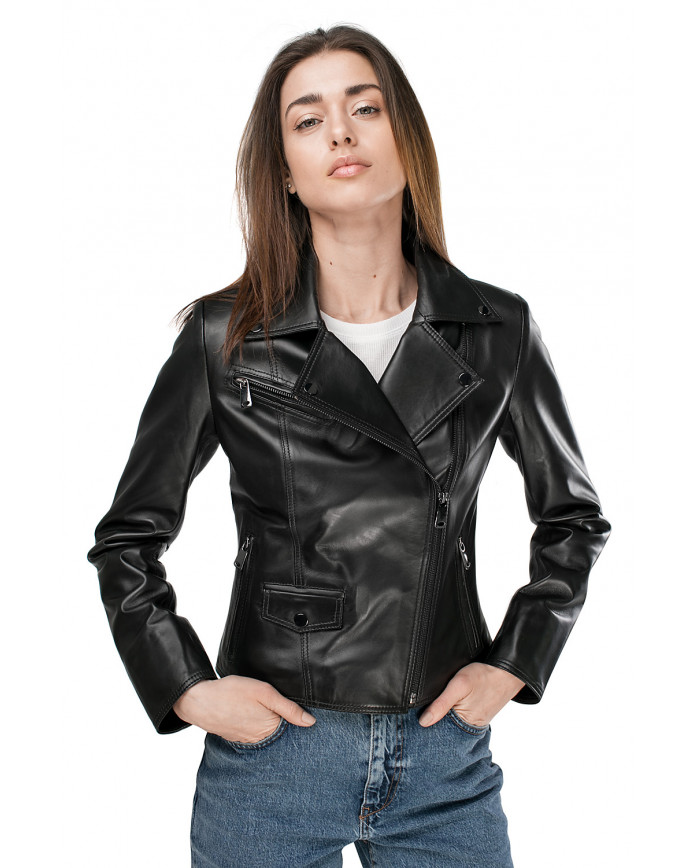 Женская кожаная куртка VES-103 ZIK 089 - интернет-магазин Alberta