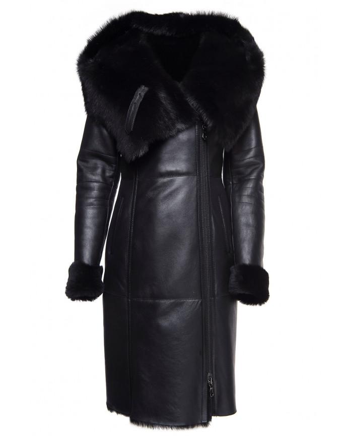 Женская дубленка 02-Long SILKY 086 - интернет-магазин Alberta
