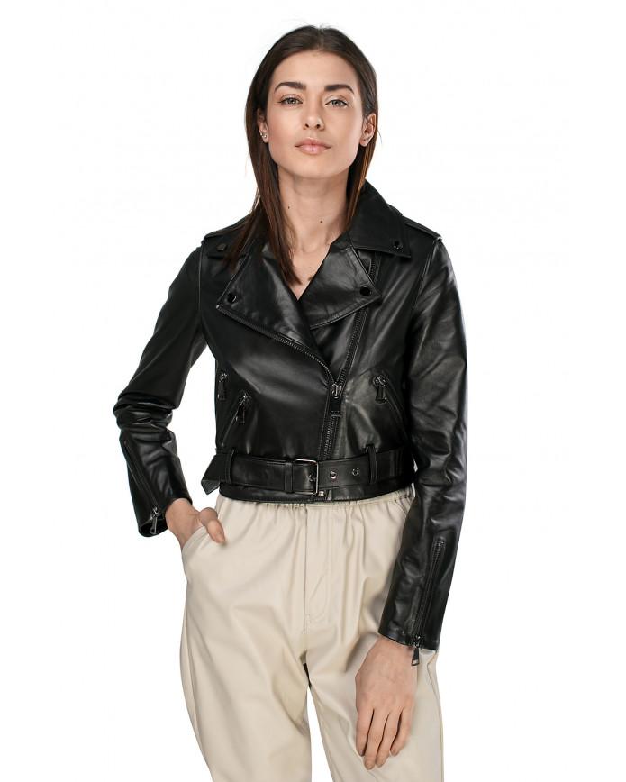 Женская кожаная куртка косуха INFINITY VEGETAL 086 - интернет-магазин Alberta