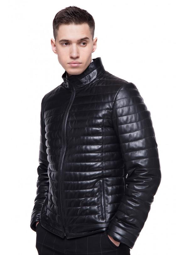 Мужская кожаная демисезонная куртка  N.VV-45 Y130 ZIG 089
