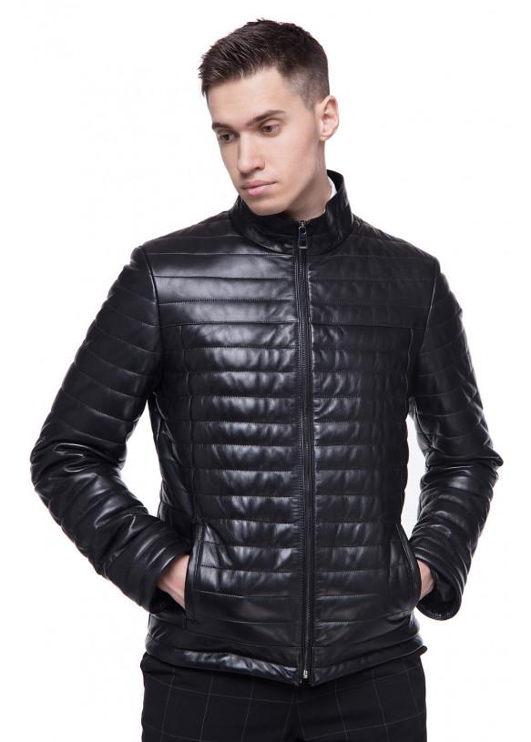Мужская кожаная демисезонная куртка N-VV-45 ZIG 098