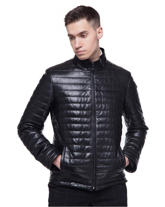 Мужская кожаная демисезонная куртка  N.VV-45 Y130 ZIG 089 - интернет-магазин Alberta