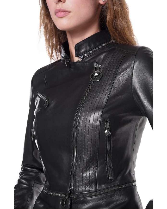 Women's  leather jacket 3333 PP VEGETAL 092