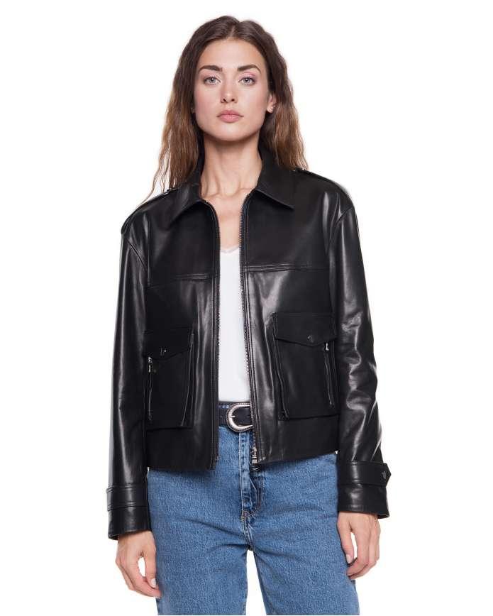 Женская кожаная куртка  411 ZIG 092 - интернет-магазин Alberta