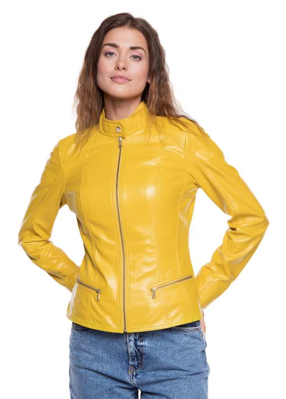 Женская куртка из натуральной кожи B1-003 ZIG 108
