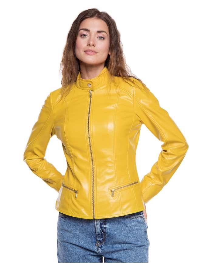 Женская куртка из натуральной кожи B1-003 ZIG 108 - интернет-магазин Alberta