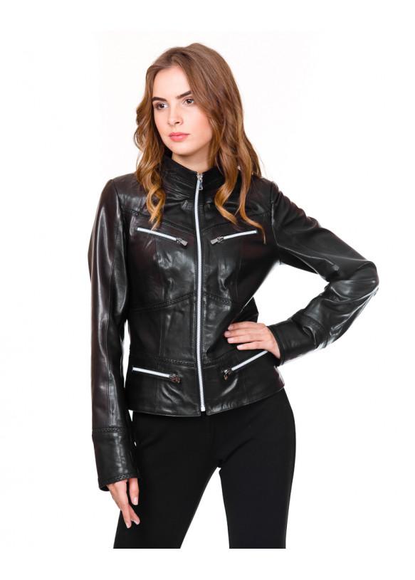 Женская кожаная куртка RC-003 Y125 ZIG_WHITE 038