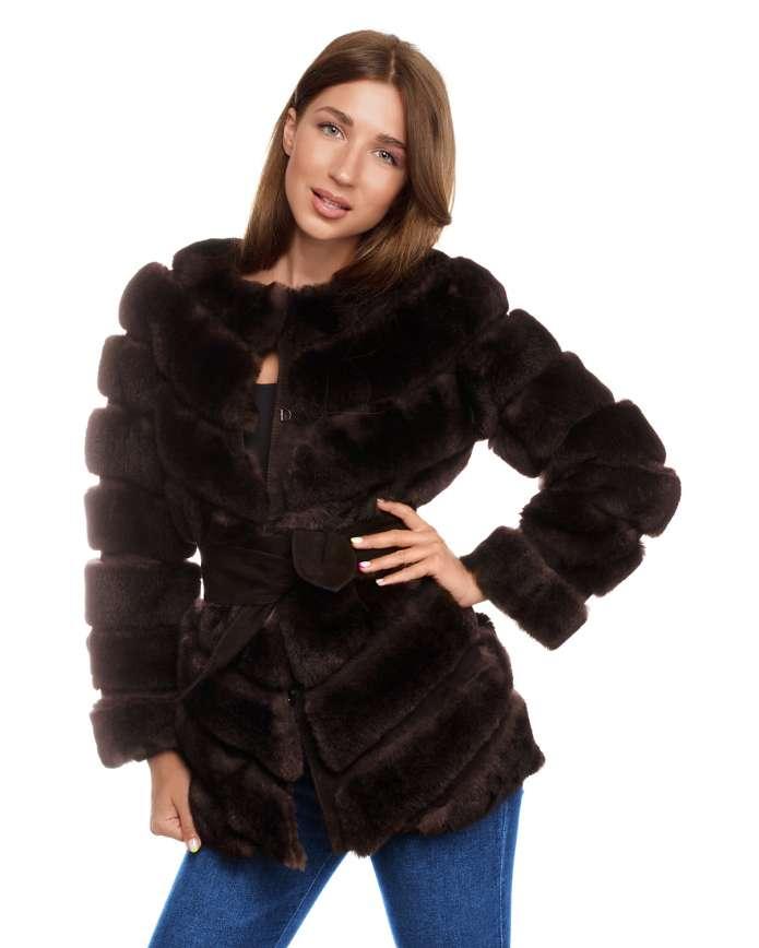 Женская шуба из рекса 1780 KISА Y70 REX 043 - интернет-магазин Alberta