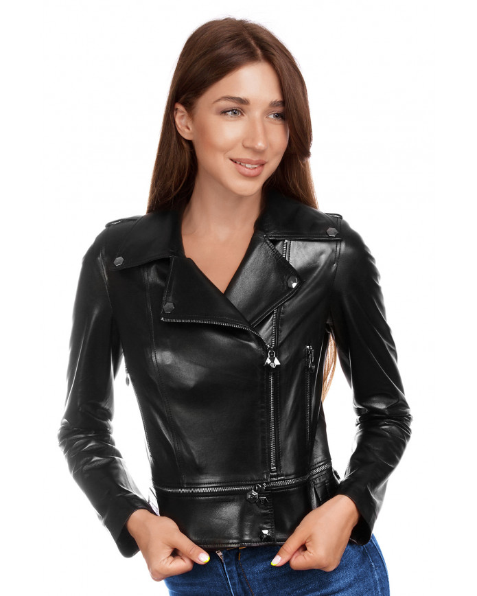 Women's leather biker jacket   2712 VEGETAL 092