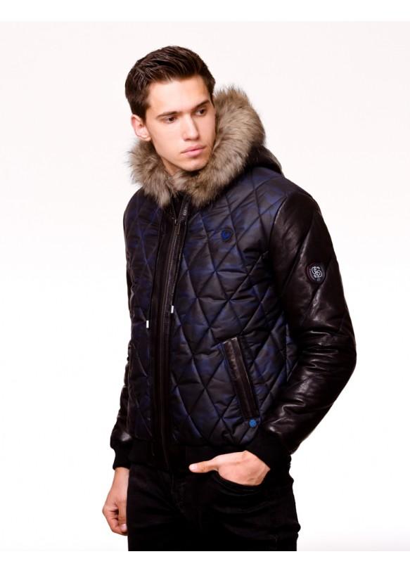 Мужская кожаная куртка С471 Y130 ZIG 054