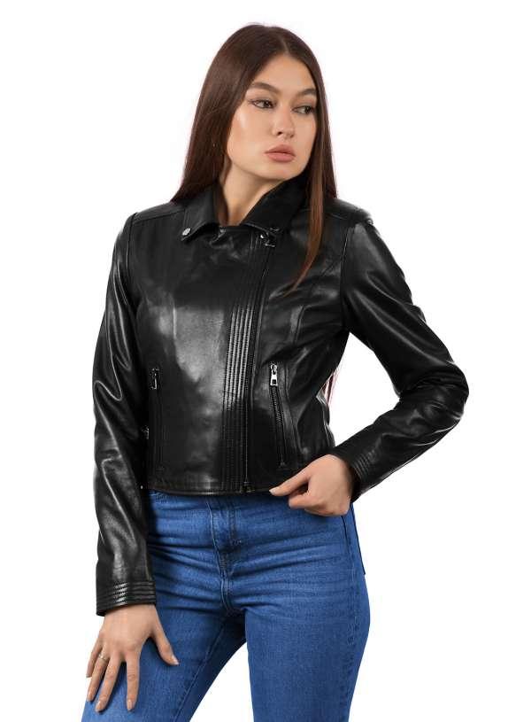 Женская кожаная куртка-косуха 1453/1021 ZIG 112