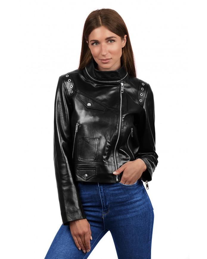 Женская кожаная куртка 3004 VEGETAL 092 - интернет-магазин Alberta