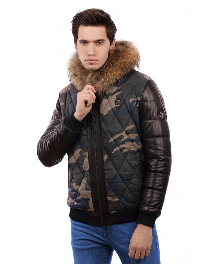 Мужская кожаная куртка С473 Y130 ZIG 054 - интернет-магазин Alberta