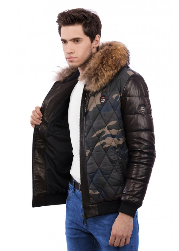 Мужская кожаная куртка С473 Y130 ZIG 054