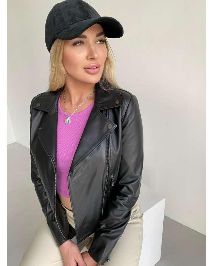 Жіноча шкіряна куртка-косуха AN0921/Alb SILK 112 - интернет-магазин Alberta