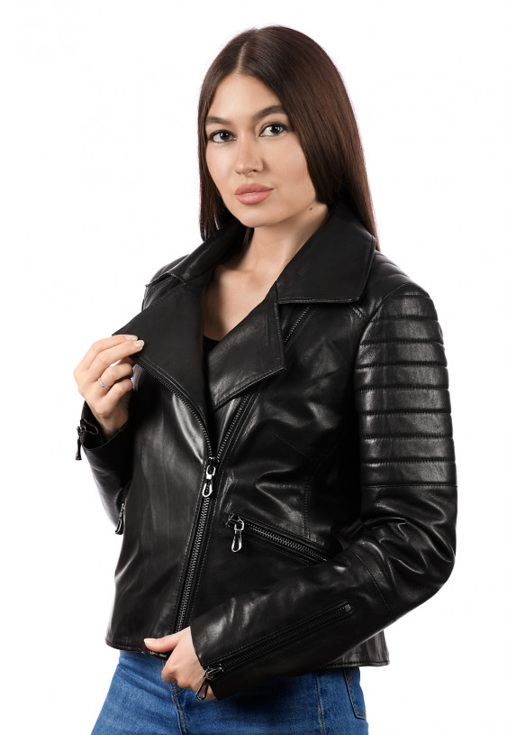 Women's leather biker jacket 8404 Y115 ZIG 084