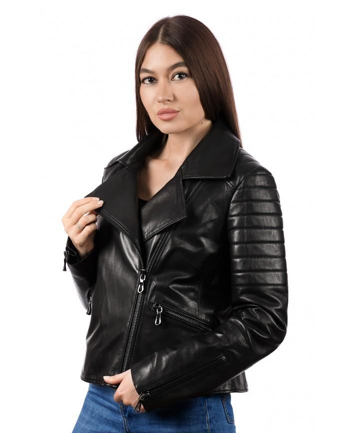 Женская кожаная куртка косуха 8404 Y115 ZIG 084 - интернет-магазин Alberta