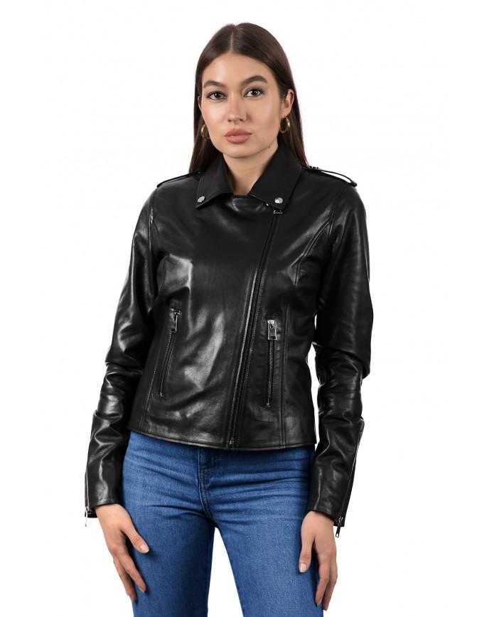 Женская куртка из натуральной кожи B1-006 ZIG 108 - интернет-магазин Alberta