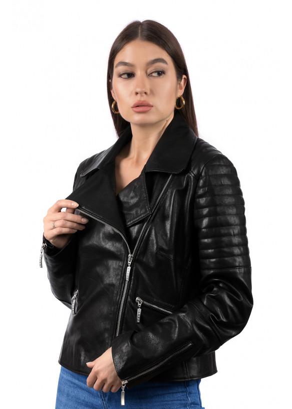 Women's leather biker jacket 8206 Y105 VEGETAL 082