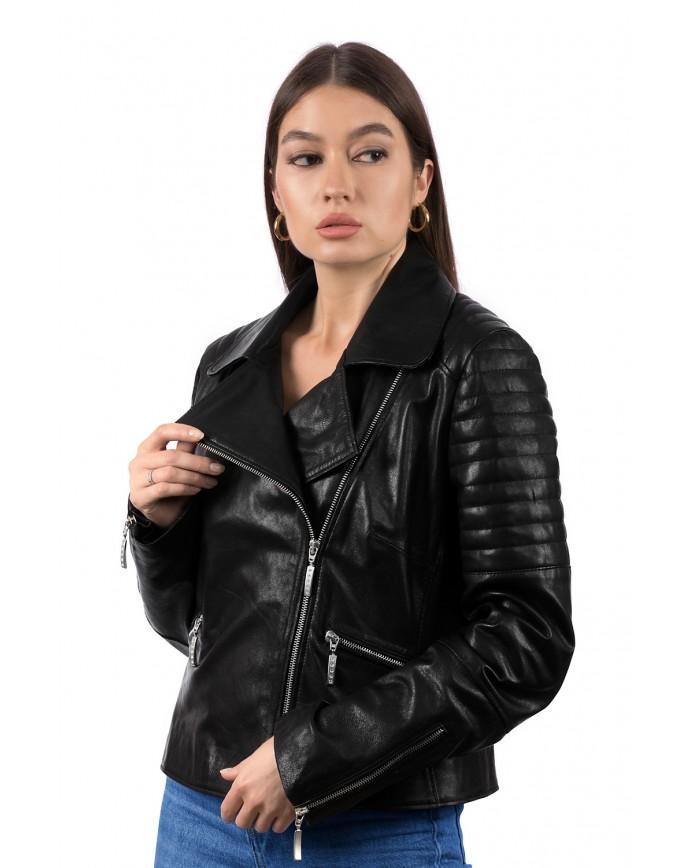 Женская кожаная куртка косуха 8206 Y105 VEGETAL 082 - интернет-магазин Alberta