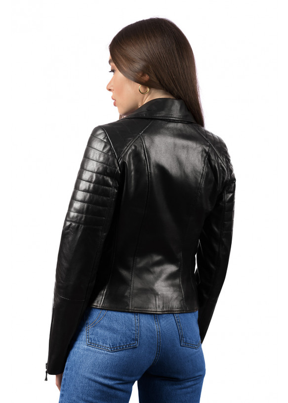 Women's leather biker jacket 8404 ZIG 086