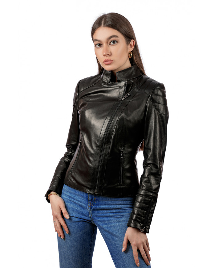 Жіноча шкіряна куртка N175 VEGETAL 093 - интернет-магазин Alberta