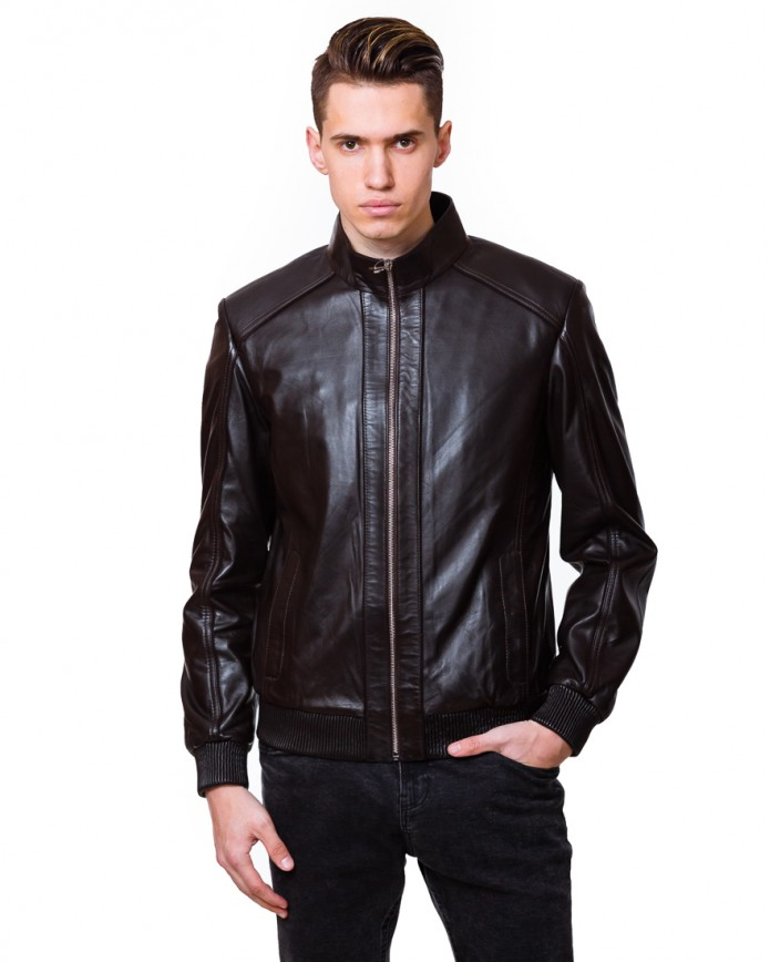 Мужская кожаная куртка N.N.6078 Y115 ZIG 029 - интернет-магазин Alberta