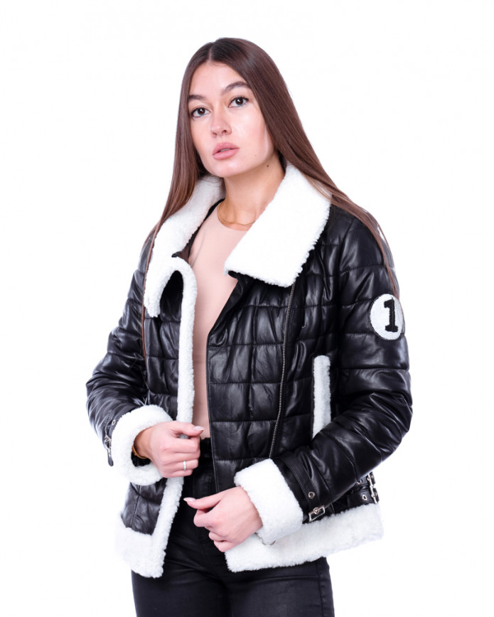 Women's sheepskin coat  DC 1566 Y70 ZIG 069 - интернет-магазин Alberta