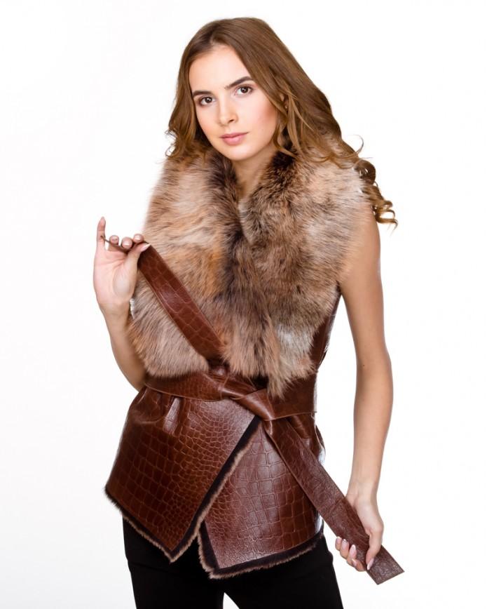 Женская жилетка из тосканы 1077 Y70 TOS/KROKKO 012 - интернет-магазин Alberta