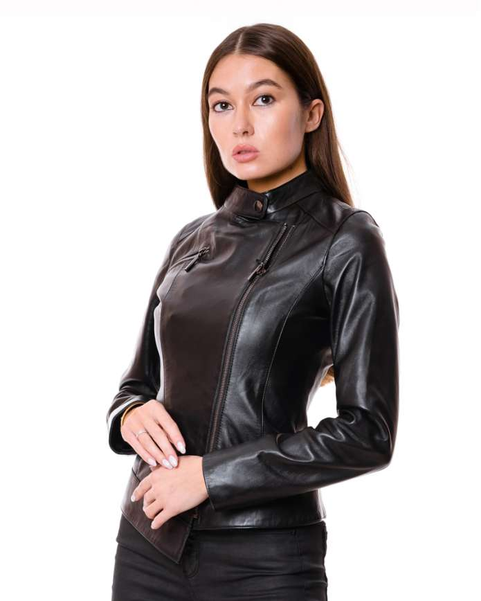 Women's leather biker jacket VV-539 ZIK 089