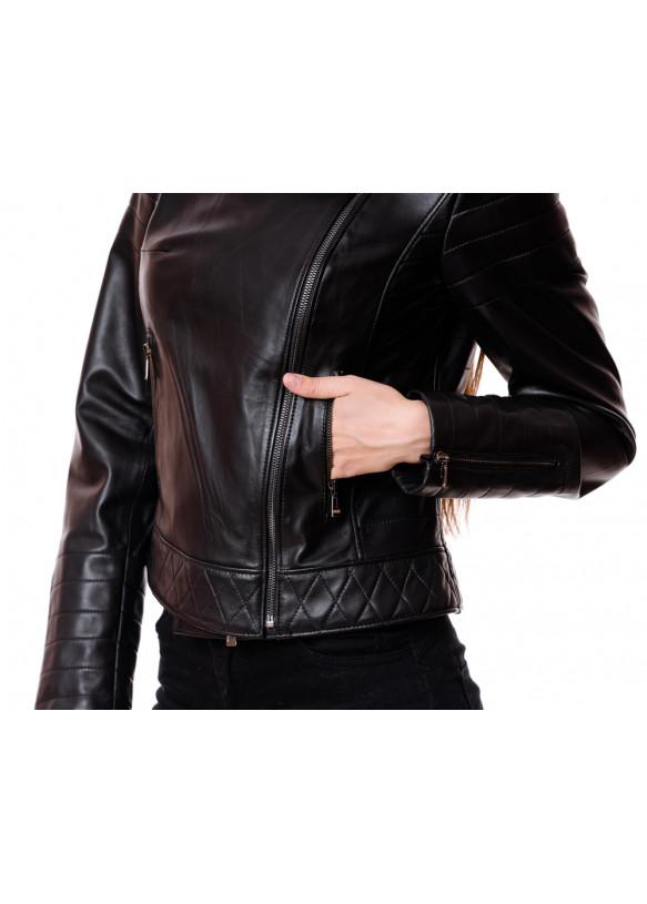 Женская кожаная куртка 4009 Y115 ZIG 029