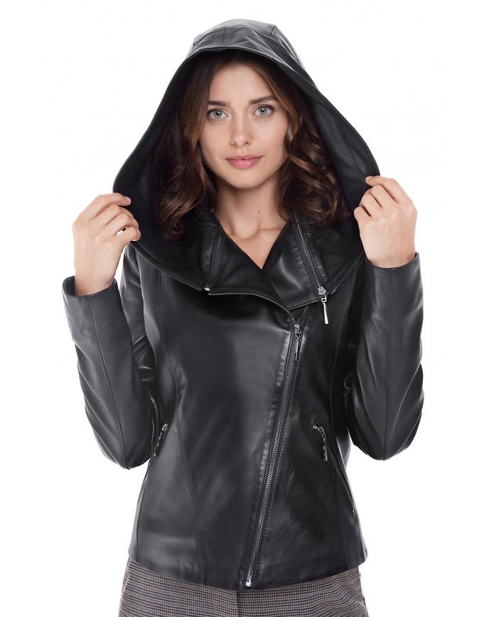 Женская кожаная куртка косуха  N-Transformer ZIG 086 - интернет-магазин Alberta