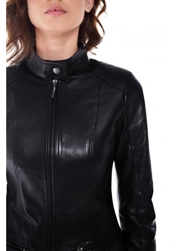 Женская утепленная кожаная куртка NZ-8 NEW VEGETAL 086