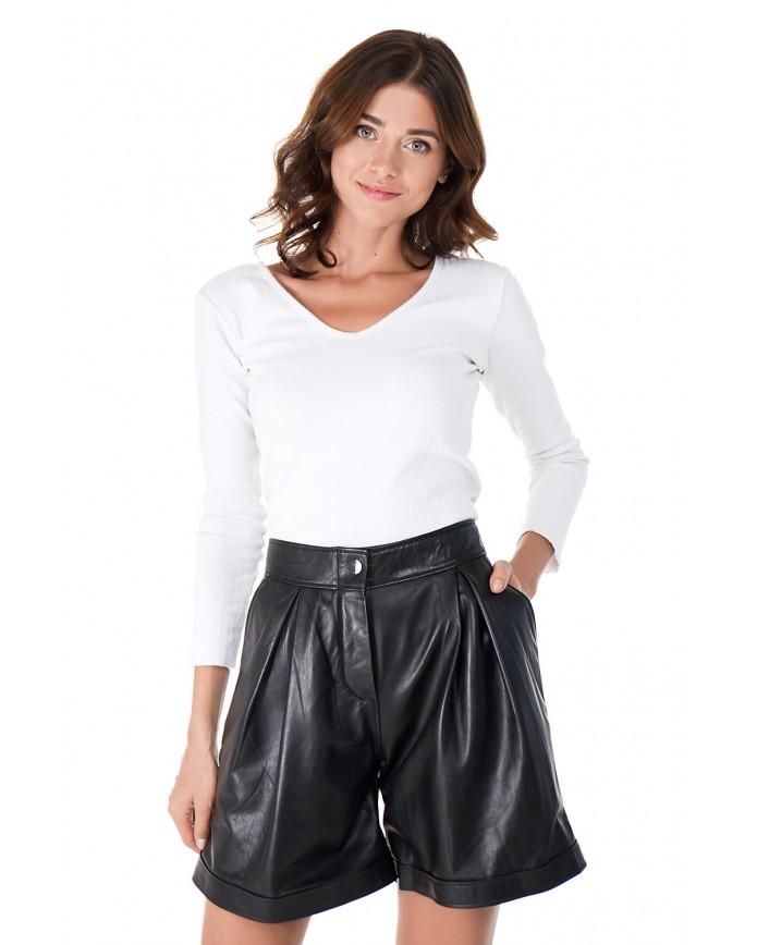Женские кожаные шорты SHORT-01 NATUREL 093 - интернет-магазин Alberta