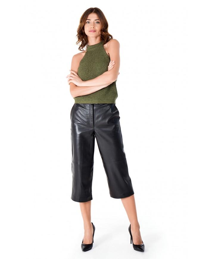 Женские кожаные брюки-кюлоты Culotte-00 VEGETAL 093 - интернет-магазин Alberta