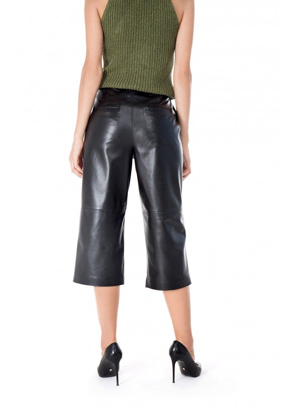 Женские кожаные брюки-кюлоты Culotte-00 VEGETAL 093