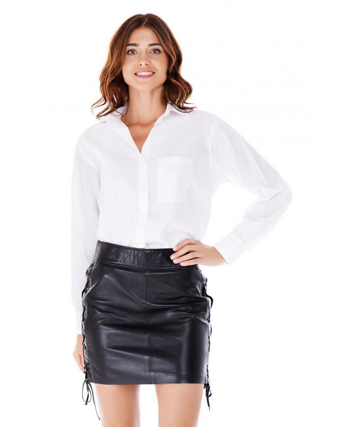 Женская кожаная юбка E-008 BRITNEY NATUREL 093 - интернет-магазин Alberta
